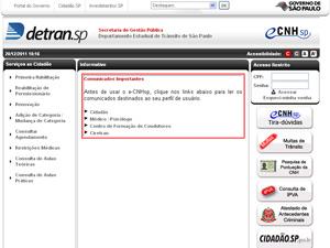 Portal de castro do Denatran SP (Foto: Reprodução/Detran SP)