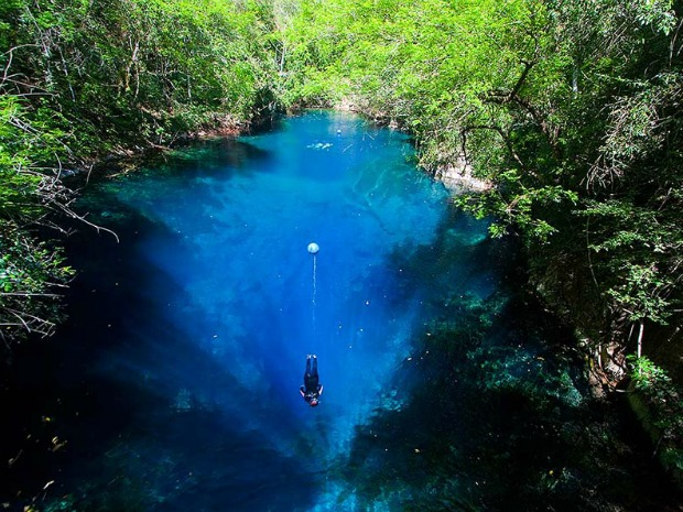 Lagoa Misteriosa vista de cima (Foto: Daniel De Granville/Arquivo pessoal)