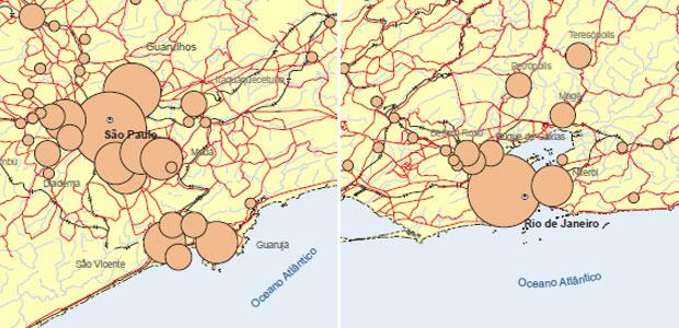 Concentração da população em aglomerados subnormais nas regiões metropolitanas em São Paulo (esquerda) e Rio de Janeiro (direita) (Foto: Reprodução/IBGE 2010)