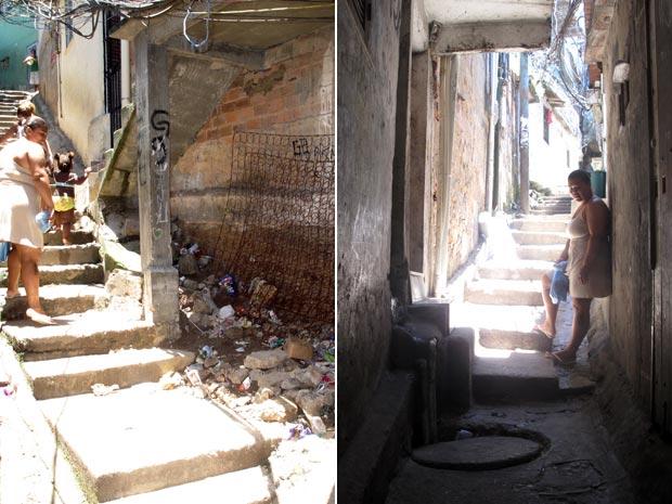 Desviar do lixo, da enxurrada que desce pelas escadas quando chove, e dos bueiros: o 'triatlo da pobreza' (Foto: Bernardo Tabak/G1)