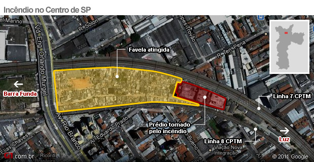 mapa incêndio sp 2 (Foto: Arte/G1)