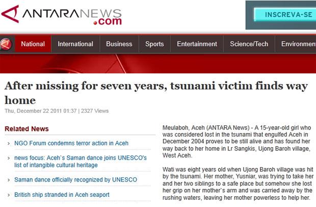 Agência de notícias indonésia relatou o caso (Foto: Reprodução)