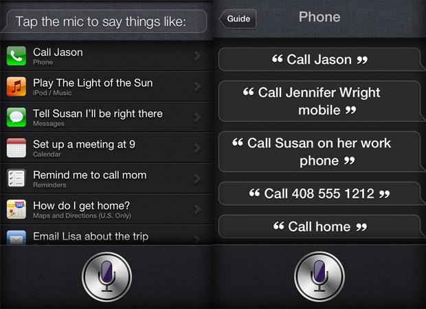 """À esquerda, a tela que surge quando o usuário clica sobre o """"i"""" ao ao atvar a Siri. À direita, algumas dicas para comandar a assistente. (Foto: Reprodução)"""