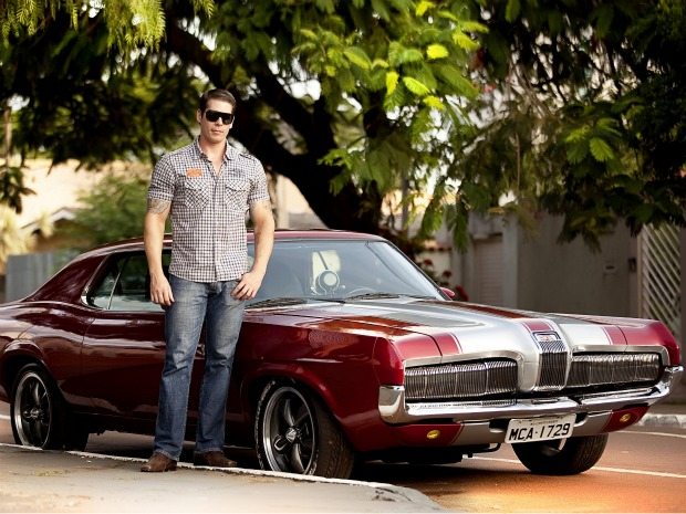 Arnaldo Carvalho and his 1970 Mercury Cougar before crash which totaled it in Campo Grande