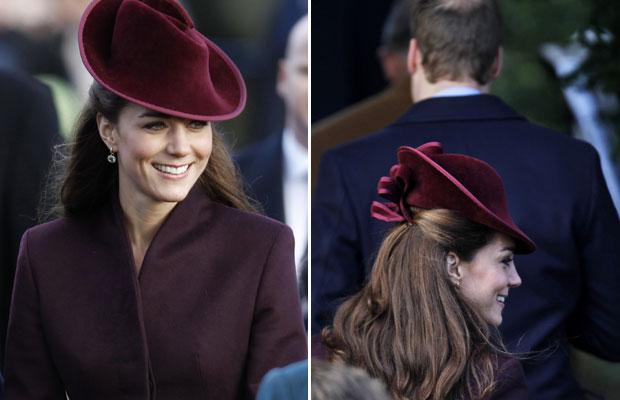 A duquesa de Cambridge, Kate Middleton, acompanhou outros membros da família real britânica na chegada à igreja de Santa Maria Madalena, próxima à propriedade Sandringham, para a missa de Natal neste domingo (25).  (Foto: Lefteris Pitarakis/AP)
