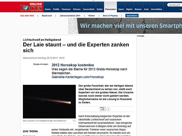 Imagens da bola de fogo foram divulgadas na imprensa alemã (Foto: Reprodução/Revista Focus)
