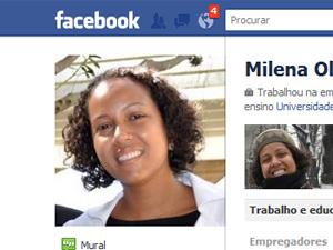 Imagem de Milena de Medeiros no Facebook; a assessoria do Itamaraty confirmou que o perfil no site de relacionamentos pertence à diplomata (Foto: Reprodução/Facebook)