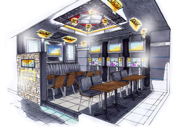 Imagem conceitual mostra como será parte do Capcom Bar em Tóquio (Foto: Divulgação)