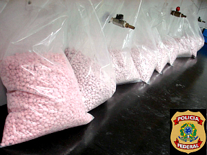Federal Police (PF) seized 50,000 ecstasy tablets at the Pinto Martins International Airport in Fortaleza