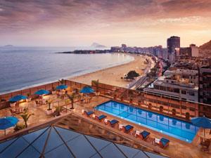 Terraço do Hotel Marriot, em Copacabana, ponto estatégico para ver os fogos (Foto: Divulgação)