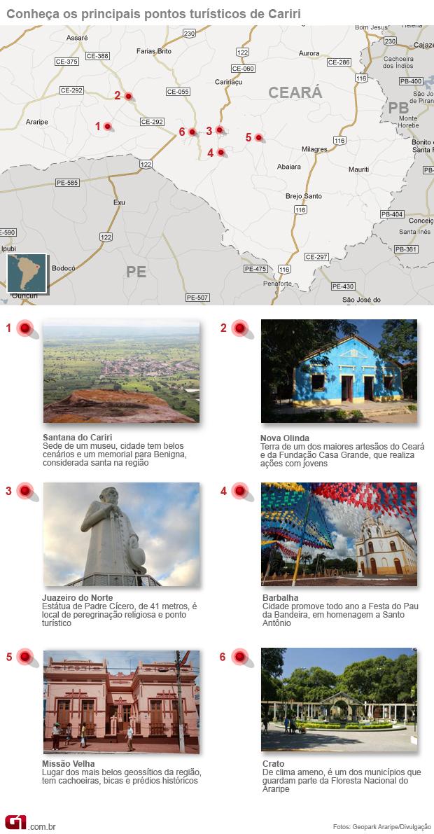 Mapa de turismo da Região do Cariri (Foto: Editoria de Arte / G1)