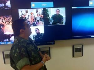 Chefes de unidades militares na Amazônia em videoconferência (Foto: Carlos Eduardo Matos/G1 AM)