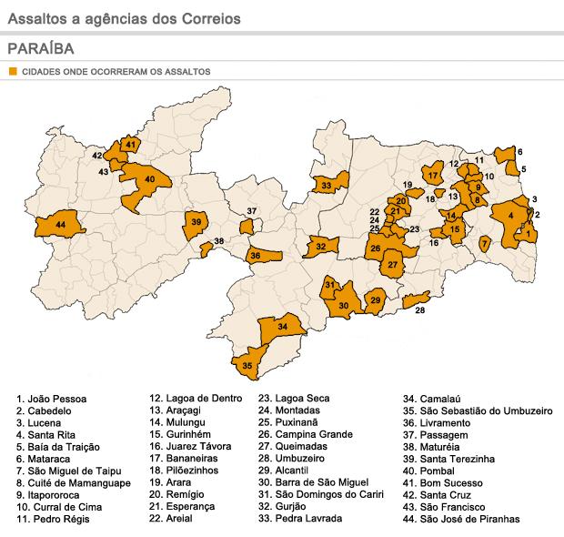 Mapa demonstra cidades que tiveram agências dos Correios assaltadas na Paraíba (Foto: Fernanda Paiva/G1)