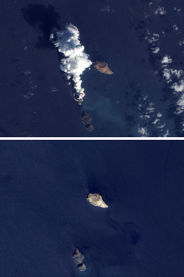 Vulcão (Foto: Uma combinação de duas imagens divulgadas pelo satélite Earth Observing-1 da agência espacial americana (Nasa) mostra atividade vulcânica no Mar Vermelho, com mais de uma erupção. No dia 23 de dezembro, aparecia mais uma ilha na região de Zubair Group, um conjunto de pequenas ilhas na costa oeste do Iêmen. A região faz parte da fenda do Mar Vermelho, onde as placas tectônicas da Arábia e da África se separam e novas crostas oceânicas se formam regularmente. (Foto: ANASA EARTH OBSERVATORY/AFP))