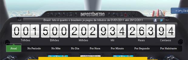 Imagem do site do Impostômetro nesta quinta-feira (29). (Foto: Reprodução)
