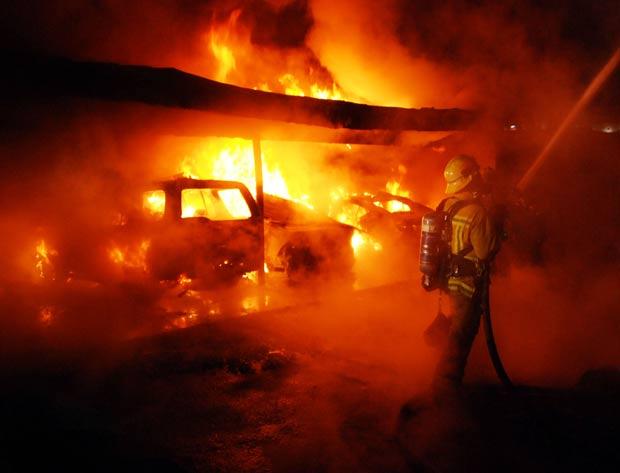 Bombeiros tentam controlar incêndio em Hollywood Hills, bairro nobre de Los Angeles. (Foto: Mike Meadows/AP)