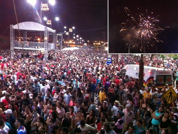 Segundo a Polícia Militar, o público estimado foi de 30 mil pessoas. Queima de fogos também foi antecipada para as 23h. (Foto: Alessandro Torres/ TV Verdes Mares)