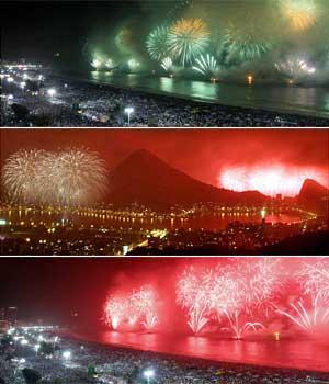 Multidão lota Copacabana para  curtir shows e queima de fogos (Editoria de Arte / G1)