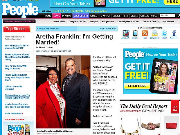 Aretha Franklin noiva (Foto: Reprodução/People)