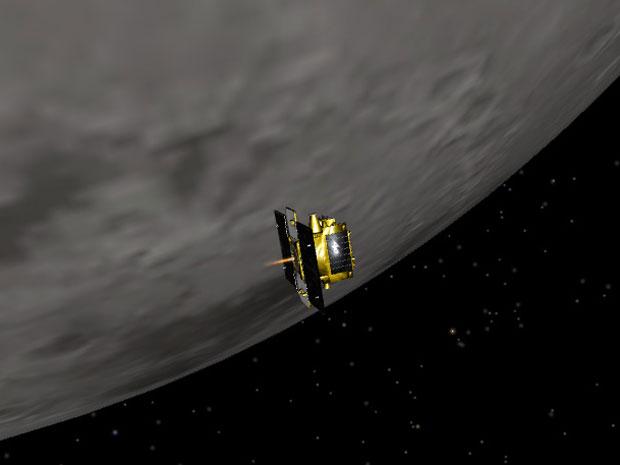 Ilustração de como foi a entrada da Grail-B na órbita da Lua (Foto: Nasa/JPL-Caltech)