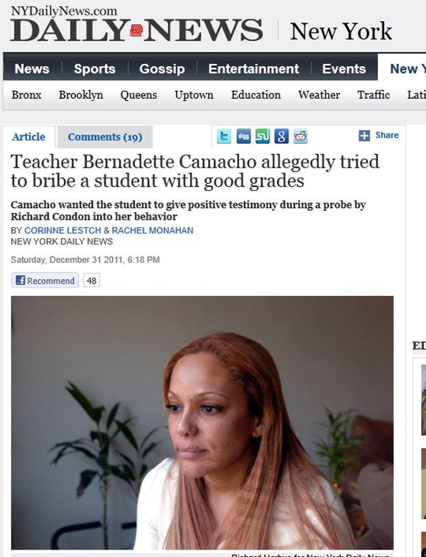Bernadette Camacho foi cusada de tentar subornar uma aluna. (Foto: Reprodução/NY Daily News)