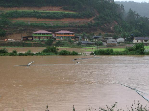 Áreas rurais estão embaixa d'água em Santa Maria de Jetibá (Foto: Anderson Percilios/VC no ESTV)