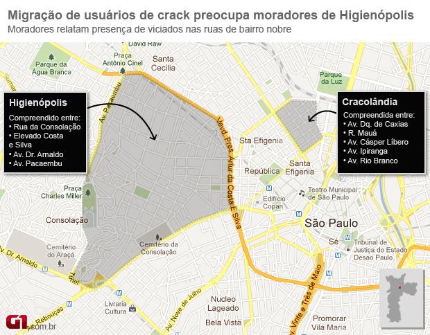 Mapa da Cracolandia de São Paulo