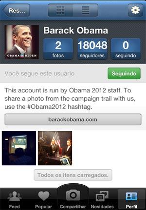 O recém criado perfil de Obama no Instagram (Foto: Reprodução)