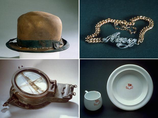 Alguns dos 5,5 mil objetos do Titanic que serão leiloados, resgatados em sete expedições ao fundo do Atlântico Norte, entre 1987 e 2004 (Foto: RMS Titanic / AP)