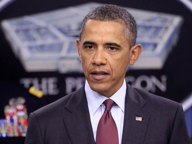 O presidente dos EUA, Barack Obama, discursa no Pentágono nesta quinta-feira (5) (Foto: AP)