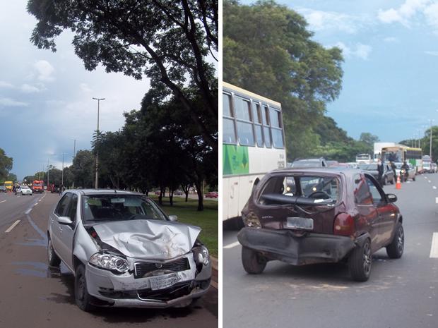 Dois carros bateram na via Epia, em Brasília, por volta das 17h desta sexta-feira (6). O motorista do Palio contou que seguia na via no sentido Plano Piloto quando um Corsa entrou na pista por meio de um retorno e bateu no veiculo. O motorista do Palio pa (Foto: Naiara Leão/ G1)