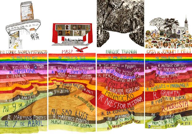 Cartaz feito pela artista e arquiteta Carla Caffé, retratando construções e edifícios da Avenida Paulista (Foto: Carla Caffé)