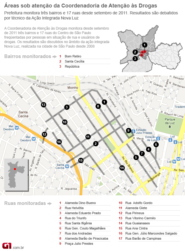 Áreas do Centro de SP sob atenção contra crack -  Cracolândia (Foto: Editoria de Arte/ G1)