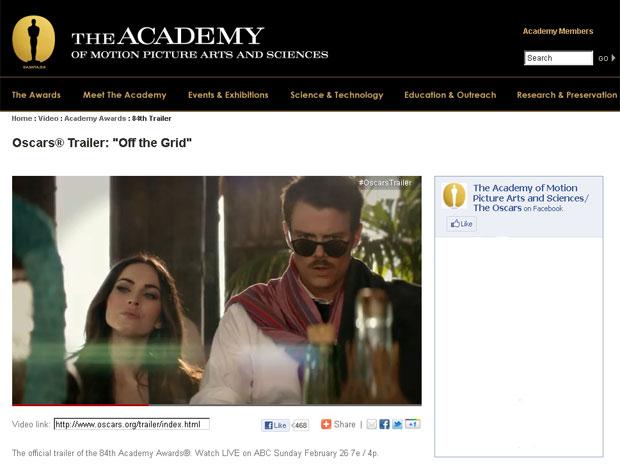 Os atores Megan Fox e Josh Duhamel em vídeo da Academia de Hollywood para promover o Oscar (Foto: Reprodução)
