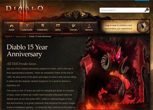 Site comemora os 15 anos da série 'Diablo' (Foto: Reprodução)
