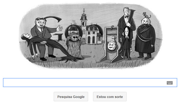 Página inicial do Google com imagens dos personagens da 'Família Adams' (Foto: Reprodução/Google)
