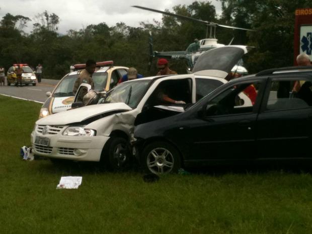 Internauta registra acidente na PR-508 no domingo (8) (Foto: Renato Leite/ VC no G1)