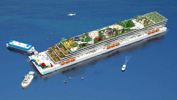 Projeto do cruzeiro empresarial que pretende usar escritórios flutuantes a empresários estrangeiros sem visto de trabalho nos EUA (Foto: Blueseed Co. / AP)