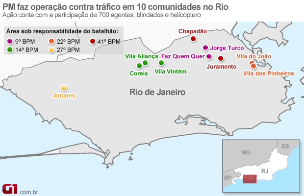 Mapa das Comunidades Ocupadas do Rio (Foto: Arte G1)