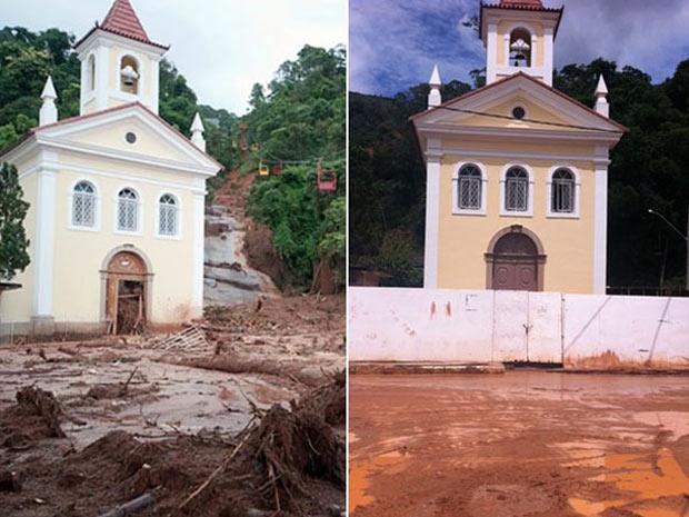 Capela atingida pela chuva há 1 ano e em 2012 (Foto: (Foto: Montagem de fotos de Celso Pupo e Thamine Leta))