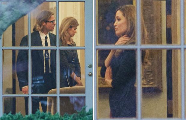 Brad Pitt e Angelina Jolie durante encontro a portas fechadas com Obama no Salão Oval da Casa Branca, nesta quarta (11) (Foto: AFP)