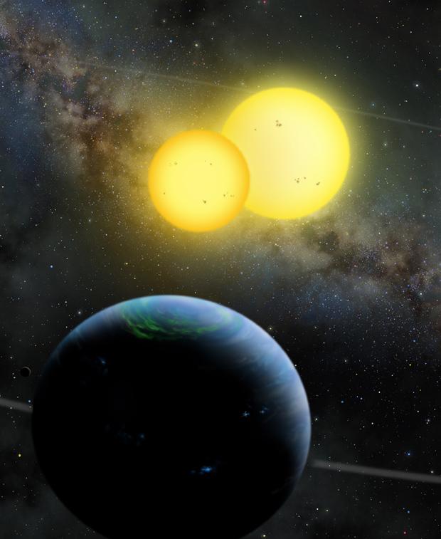 Ilustração mostra como seria Kepler-35b, girando ao redor de par de estrelas amarelas. (Foto: Lynette Cook / Nasa)