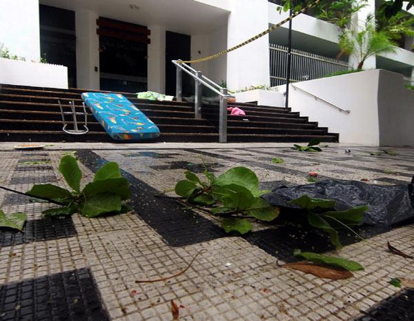 Mulher atirou diversos objetos do apartamento, além dos cachorros (Foto: Rogério Soares/ Agência A Tribuna)