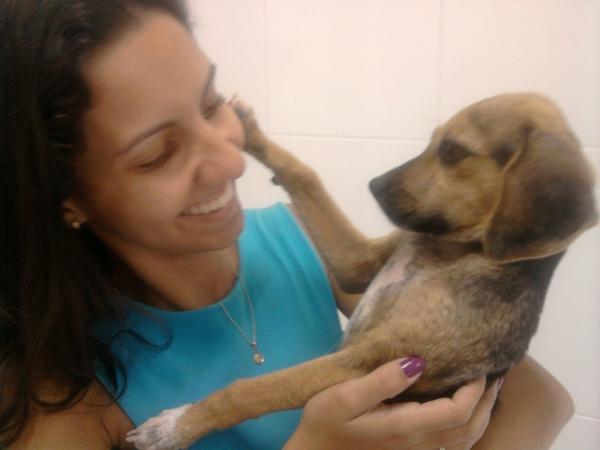 Veterinária levou o cachorro para casa (Foto: Foto cedida: Viviane da Silva)