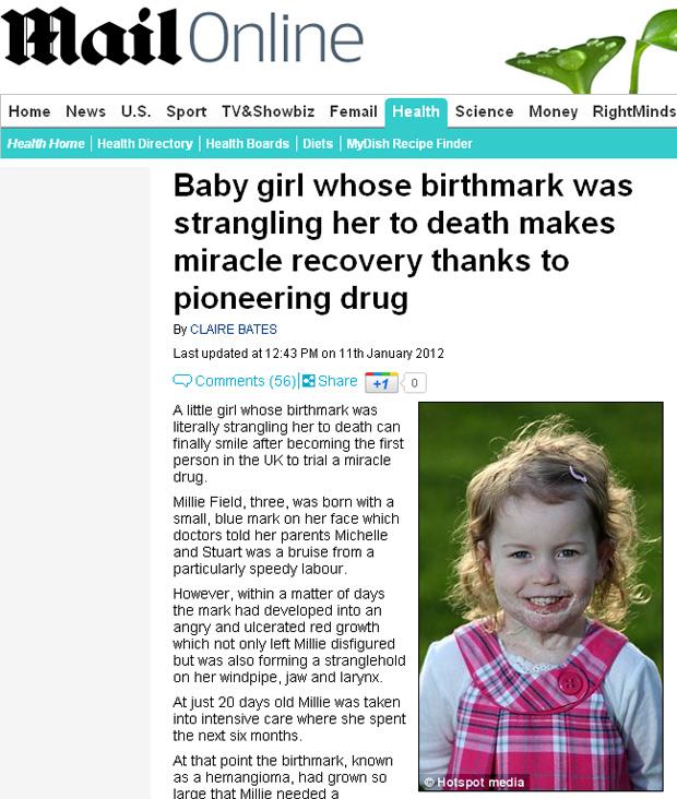 Millie Field, hoje com 3 anos, recuperada do hemangioma. (Foto: Daily Mail / Reprodução)