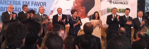 A presidente Dilma Rousseff em cerimônia do programa Minha Casa Minha Vida em São Paulo (Foto: Letícia Macedo / G1)