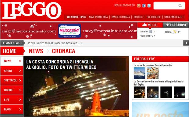 """Foto publicada pelo site italiano """"Leggo"""" mostra o cruzeiro inclinado (Foto: Reprodução)"""