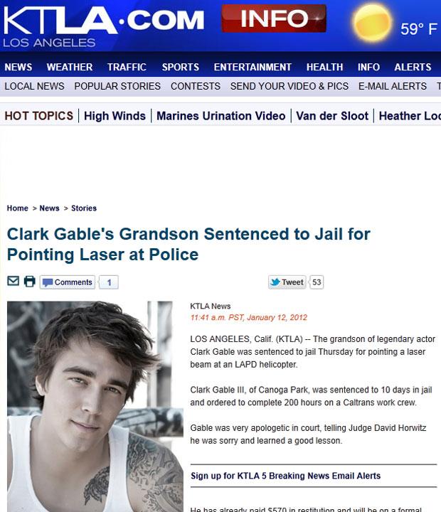 Prisão do neto de Clark Gable foi noticiada pela mídia americana (Foto: Reprodução/KTLA)