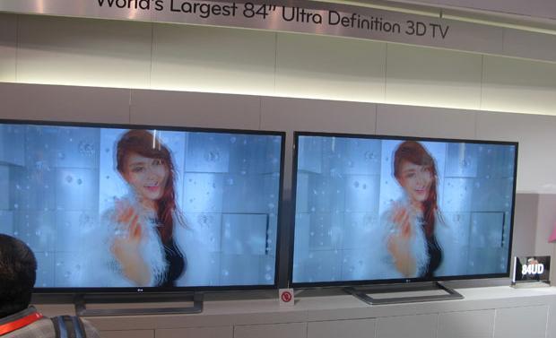 LG apresentou TVs com resolução 4K com 84 polegadas (Foto: Gustavo Petró/G1)