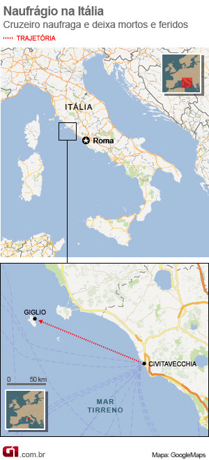 mapa naufragio italia vale esta (Foto: Arte G1)